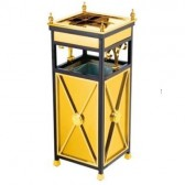 Thùng rác inox mạ vàng có gạt tàn thuốc lá hình vuông