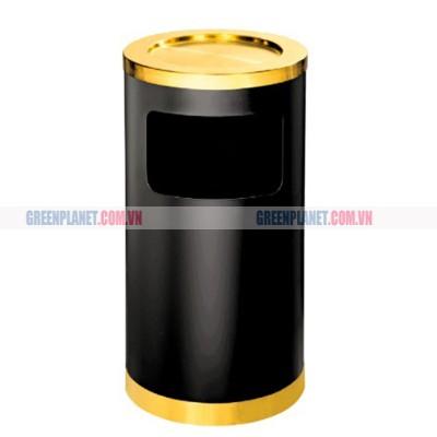 Thùng rác thép phun sơn tròn có gạt tàn inox vàng