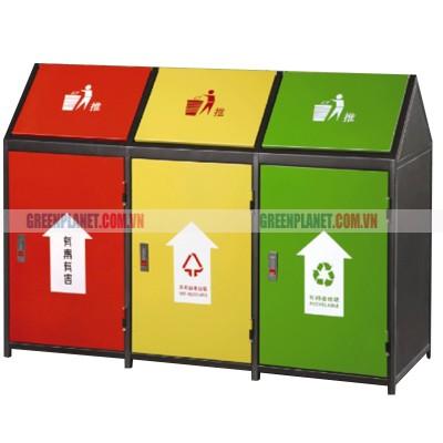 Thùng rác 3 ngăn ngoài trời phân loại rác thải