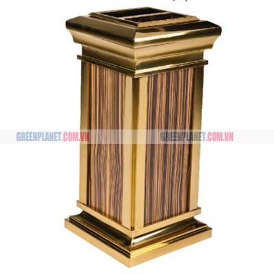 Thùng rác inox mạ vàng giả gỗ