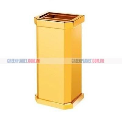 Thùng rác inox mạ vàng có gạt tàn thuốc lá