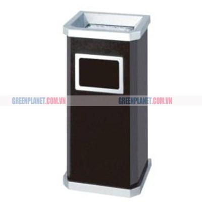 Thùng rác kim loại chữ nhật có gạt tàn thuốc