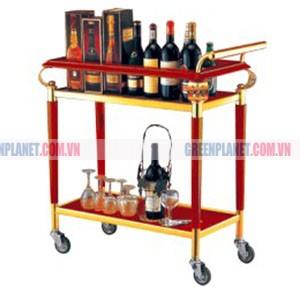 Kệ bầy rượu 2 tầng bằng gỗ di động WY-27