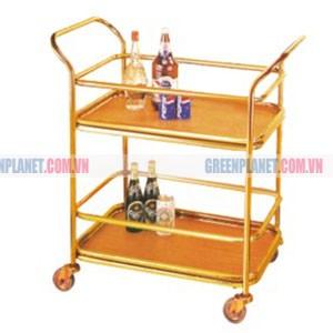 Xe phục vụ bàn 2 tầng bằng inox mạ vàng giá rẻ WY-58