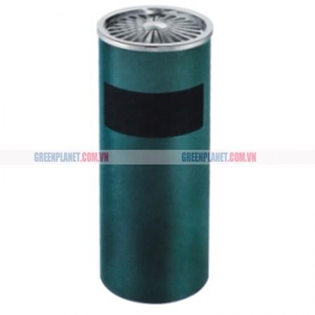 Thùng rác gạt tàn phun sơn màu xanh