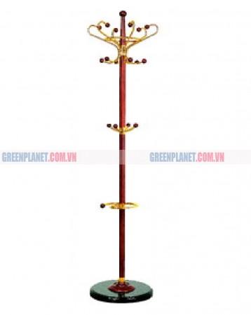 Cột cây móc treo quần áo di động inox bằng gỗ G-6