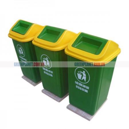 Thùng rác nhựa composite đế đá 90 lít