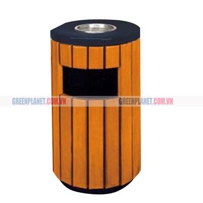 thùng rác gỗ có gạt tàn