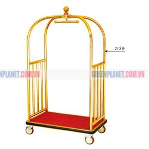 Xe đẩy hành lý bằng inox mạ vàng cao cấp D11-A