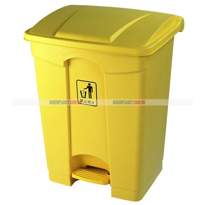 Thùng rác nhựa đạp chân 68L màu vàng