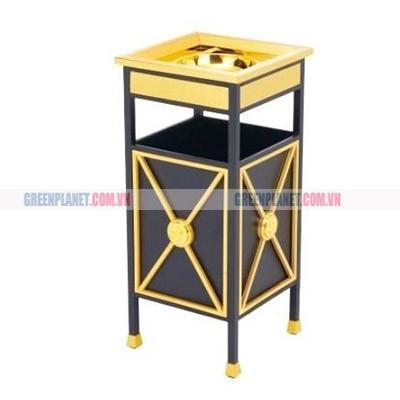 Thùng đựng rác bằng thép mạ vàng có gạt tàn thuốc