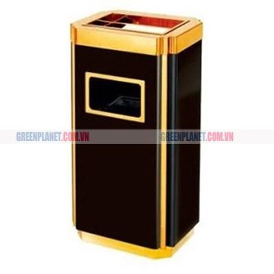Thùng rác phun sơn đen inox vàng