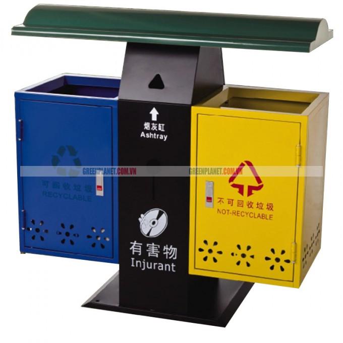 Thùng rác kim loại ngoài trời 2 ngăn phân loại rác thải