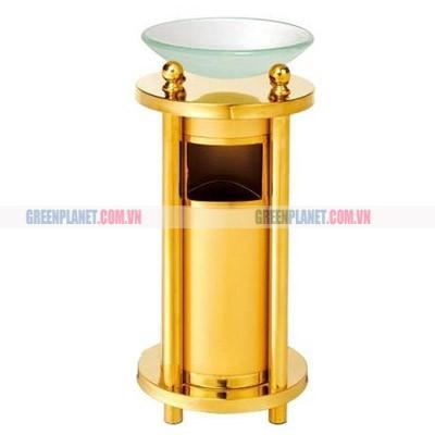 Thùng rác inox mạ vàng có khay thủy tinh