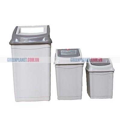 Thùng rác  nhựa nắp lật 28L màu ghi