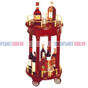 Kệ bầy rượu tròn 2 tầng bằng gỗ WY-14A