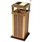 Thùng rác inox mạ vàng in giả gỗ cao cấp