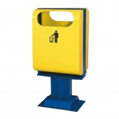 Thùng rác công cộng thép phun sơn màu vàng