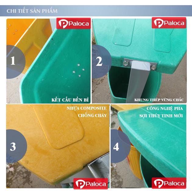 Chi tiết thùng rác treo đôi 80 lít