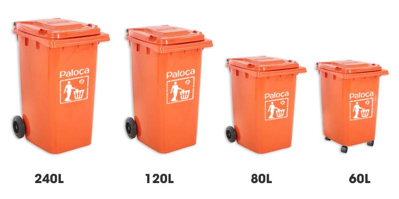 Thùng rác nhựa màu cam 120 lít, 240 lít