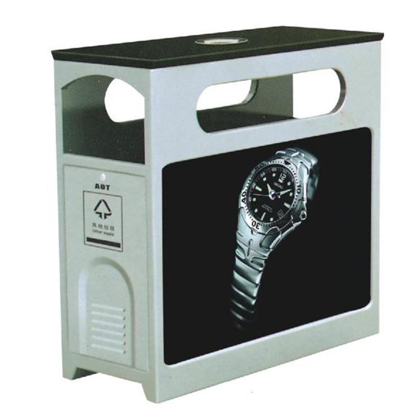 thùng đựng rác bằng thép có biển quảng cáo