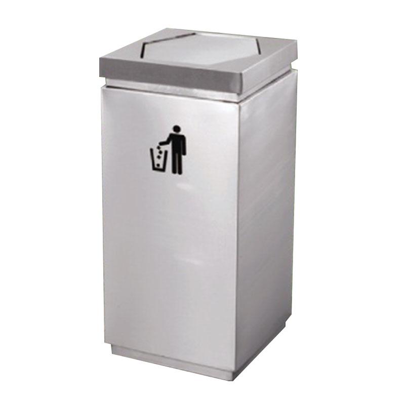 thùng rác bằng inox có nắp lật bập bênh ngoài trời