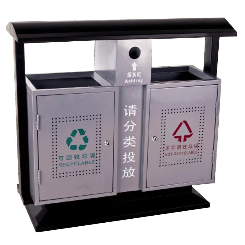 thùng rác bằng thép ngoài trời 2 ngăn