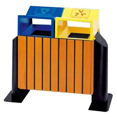 thùng rác gỗ treo đôi