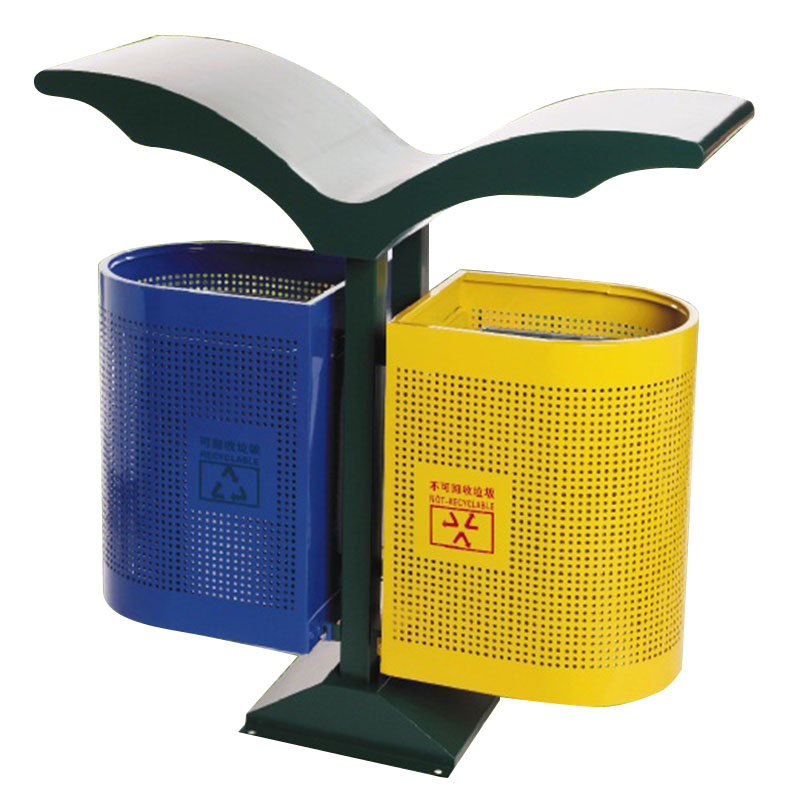 thùng rác ngoài trời hai ngăn phân loại rác thải