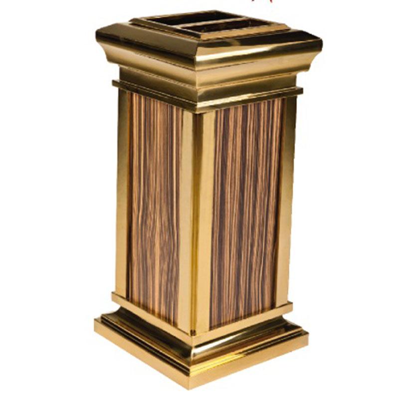 T</strong><strong>hùng rác inox mạ vàng giả gỗ