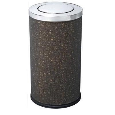 Thùng rác kim loại tròn bọc da nắp bập bênh